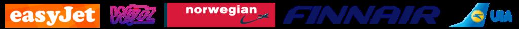 Авиакомпании EasyJet, WizzAir, Finnair, Norwegian, UIA