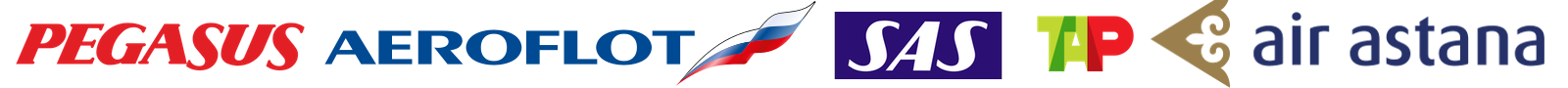 Авиакомпании Pegasus, Aeroflot, SAS, TAP Portugal, Air Astana